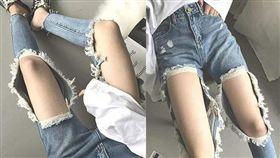 破褲,阿嬤,牛仔褲,美腿,正妹(圖/翻攝自爆廢公社)
