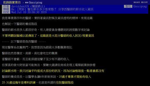 醫生,血汗,薪資,養成,PTT 圖/翻攝自PTT