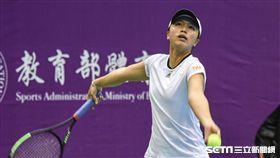WTA台灣公開賽女子雙打李亞軒。(圖/記者林敬旻攝)
