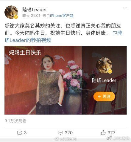 陸瑤 圖/微博