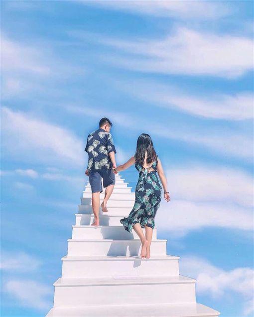 暑假旅遊景點,澎湖傳承堡飯店,天梯(翻攝自ig vlftjwls_9)