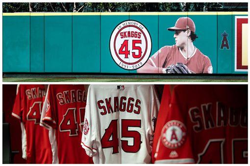 ▲紀念史蓋格斯(Tyler Skaggs),天使主場首戰穿45號球衣。(圖/翻攝自天使推特)