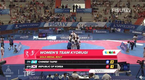倒數15秒關鍵兩分!世大運女子跆拳道 中華隊打敗南韓摘金/SSU大專學生運動網臉書