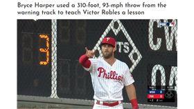 ▲哈波(Bryce Harper)右外野全壘打牆下『雷射肩』沒收三壘安打。(圖/翻攝自CUT4)