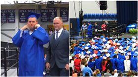 6月時,許多學校都在舉辦畢業典禮,畢業生們在師長的歡呼下,開心的上台致詞、領取畢業證書。但是在美國一所高中內,他們為了一位患有自閉症的畢業生傑克(Jack Higgins),以無聲的揮手方式取代鼓掌,令傑克的父母相當感動。(圖/翻攝自Raney Day Media)