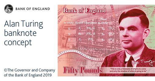 曾因為同志身分遭到迫害、第二次世界大戰的密碼英雄圖靈成為英國50鎊新鈔的肖像人物。