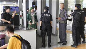 外媒報導,儘管新疆已有估計100萬維吾爾族和大多是穆斯林的突厥語系少數民族遭到拘留,但來訪的遊客只能見到一個創造出的平行世界。圖為新疆民眾通過地鐵站安檢。