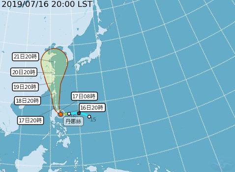颱風丹娜絲路徑圖(圖/翻攝自中央氣象局)