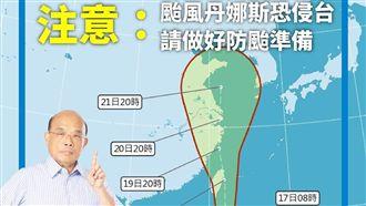 丹娜絲襲台 蘇揆10時視察災變中心