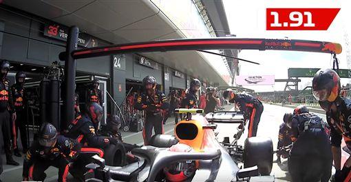 ▲2019 F1英國站Reb Bull車隊以1.91秒完成換胎(圖/翻攝網路)