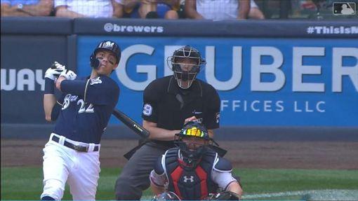 ▲葉立奇(Christian Yelich)敲出本季第34轟。(圖/翻攝自MLB官網)