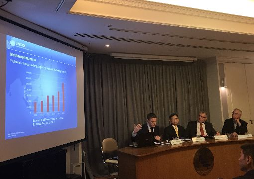 聯合國公布東南亞跨國犯罪報告聯合國毒品暨犯罪辦公室(UNODC)18日在曼谷舉行記者會,公布2019年「東南亞跨國組織犯罪:演變、成長和影響」報告。中央社記者呂欣憓曼谷攝 108年7月18日