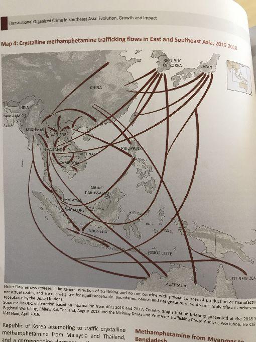 聯合國公布 東南亞跨國毒品販運路徑聯合國毒品暨犯罪辦公室(UNODC)18日公布2019年「東南亞跨國組織犯罪:演變、成長和影響」報告,描述東南亞和周邊地區的毒品販運路徑。中央社記者呂欣憓曼谷攝 108年7月18日