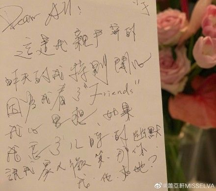 蕭亞軒手寫信。微博