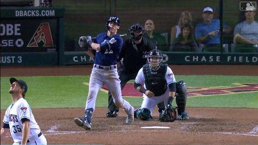▲葉立奇(Christian Yelich)敲出本季第35號全壘打。(圖/翻攝自MLB官網)