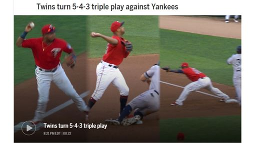 ▲雙城3殺洋基,大聯盟本季第2次3殺守備。(圖/翻攝自MLB官網)