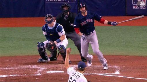▲馬丁尼茲(J.D. Martinez)開啟紅襪單局3轟灌7分攻勢。(圖/翻攝自MLB官網)