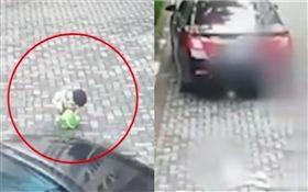 中國大陸,女童遭轎車輾壓(圖/翻攝自澎湃新聞)