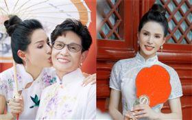 45歲李若彤跟媽媽一同遊北京、穿旗袍/真人秀《熟悉的味道》。翻攝微博