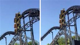 90度橫卡30公尺高空!雲霄飛車爬升故障 遊客尖叫怕死(圖/翻攝自@TerryBpne推特)