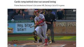 ▲紅雀2局上3轟5支二壘安打攻下9分。(圖/翻攝自MLB官網)