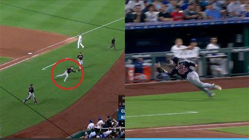 ▲印地安人先發投手普利賽克(Zach Plesac)界外區飛撲接殺飛球。(圖/翻攝自MLB官網)