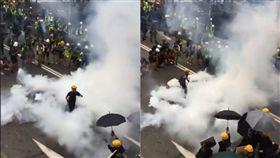 (圖/翻攝自推特)香港,反送中,元朗,催淚彈,遊行