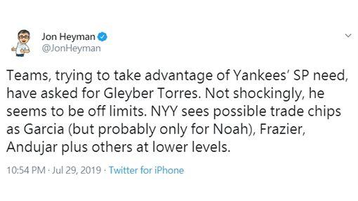 ▲海曼(Jon Heyman)在推特爆料,洋基托瑞斯(Gleyber Torres)是非賣品,佛雷澤(Clint Frazier)、安杜哈(Miguel Andujar)可能被放上交易桌。(圖/翻攝自推特)