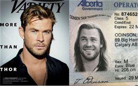 克里斯漢斯沃(Chris Hemsworth)/「雷神索爾」的照片被P圖惡搞當作買大麻的證件照。推特