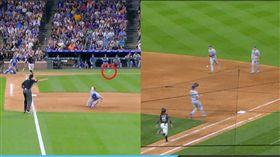 ▲洛磯一壘滾地打中道奇一壘手,球反彈給二壘手再傳給補位投手抓下出局數。(圖/翻攝自MLB官網)