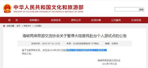 中國又打壓!明起停發47城市來台自由行簽證(圖/翻攝自中國文化和旅遊部官網)