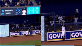 ▲葛蘭德森(Curtis Granderson)全壘打牆前沒收陳偉殷挨的陽春砲。(圖/翻攝自MLB官網)