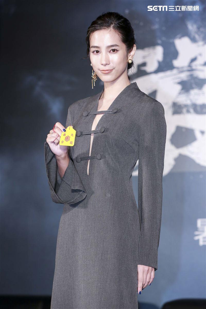 《第九分局》上映記者會,主演溫貞菱。(圖/記者林士傑攝影)