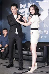 《第九分局》上映記者會,主演邱澤、劉奕兒。(圖/記者林士傑攝影)
