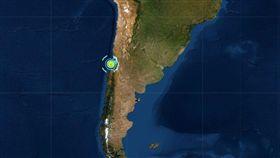 智利地震。 (圖/翻攝自美國地質調查所)
