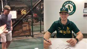 ▲素人佩特森(Nathan Patterson)參加球場飆速比賽,最快球速96英哩被運動家簽下。(圖/翻攝自推特)