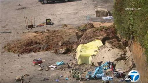 (美國南加州海灘「岩壁崩塌」 釀3喪命2受傷)美國,葛藍德尤衝浪海灘,聖地牙哥,加州(圖/翻攝自ABC7 YouTube)https://www.youtube.com/watch?v=zXCuWLMlk6E