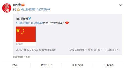 五星旗遭辱…港台藝人急表態「我是護旗手」(成龍、陳小春) 圖翻攝自微博
