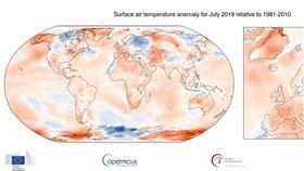 歐洲聯盟,哥白尼氣候變化服務,2019年7月,最熱,月份