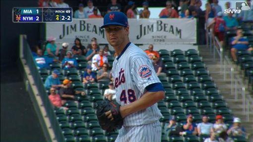 ▲狄格隆(Jacob deGrom)7局飆出8次三振僅失2分。(圖/翻攝自MLB官網)