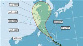利奇馬再增強「狂吹14級風」!氣象局:不排除轉強颱(圖/中央氣象局)