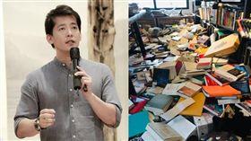 謝哲青回報家中地震災情「千本書籍雪崩塌下」。(圖/翻攝自謝哲青臉書)
