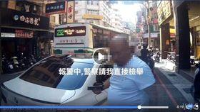 白色轎車駕駛惡言相向,嘴裡念著一連串髒話。(圖/翻攝自爆料公社 臉書)