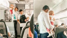 嬰兒搭機狂哭鬧!空服員「抱起哄笑」 照片曝光網戀愛了 ▲圖/翻攝自Frontier Airlines twitter