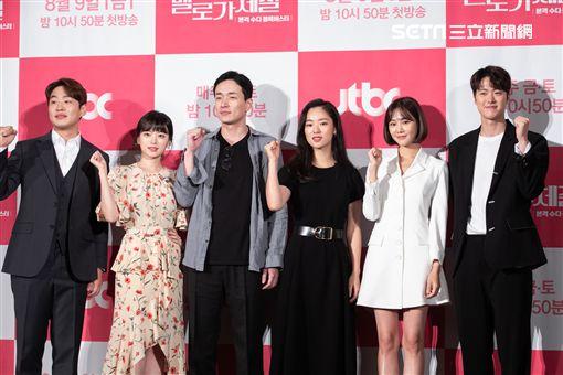 安宰弘(左起)千玗嬉、李炳憲、全汝彬、韓智恩、孔明出席《浪漫的體質》記者會。(圖/friDay影音提供)