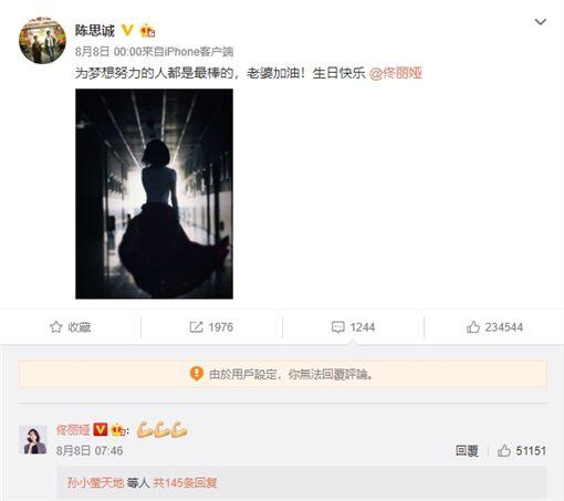 佟麗婭 陳思誠 微博