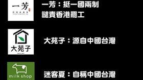 ▲網友整理一芳、大苑子、迷客夏、COCO都可、貢茶等為近期向中國下跪的手搖飲,呼籲台灣人抵制(圖/翻攝《打馬悍將粉絲團》臉書)
