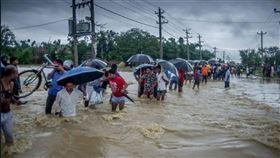 (勿用)印度,雨季,水患,災害,避難(圖/推特)