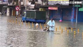 台南市,大雨,仁德交流道,積水,暴雨,涉水,拋錨