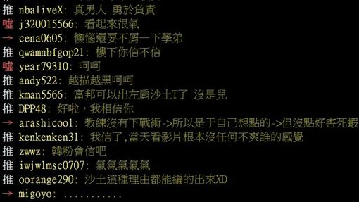 ▲林哲瑄拍掉沙土的說法在《PTT》引發網友議論。(圖/翻攝自PTT)
